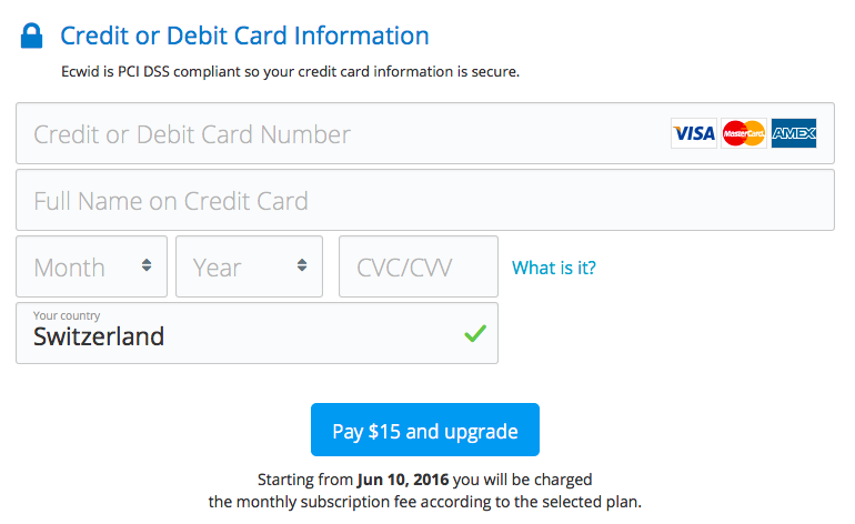 Ecwid's subscription payment form