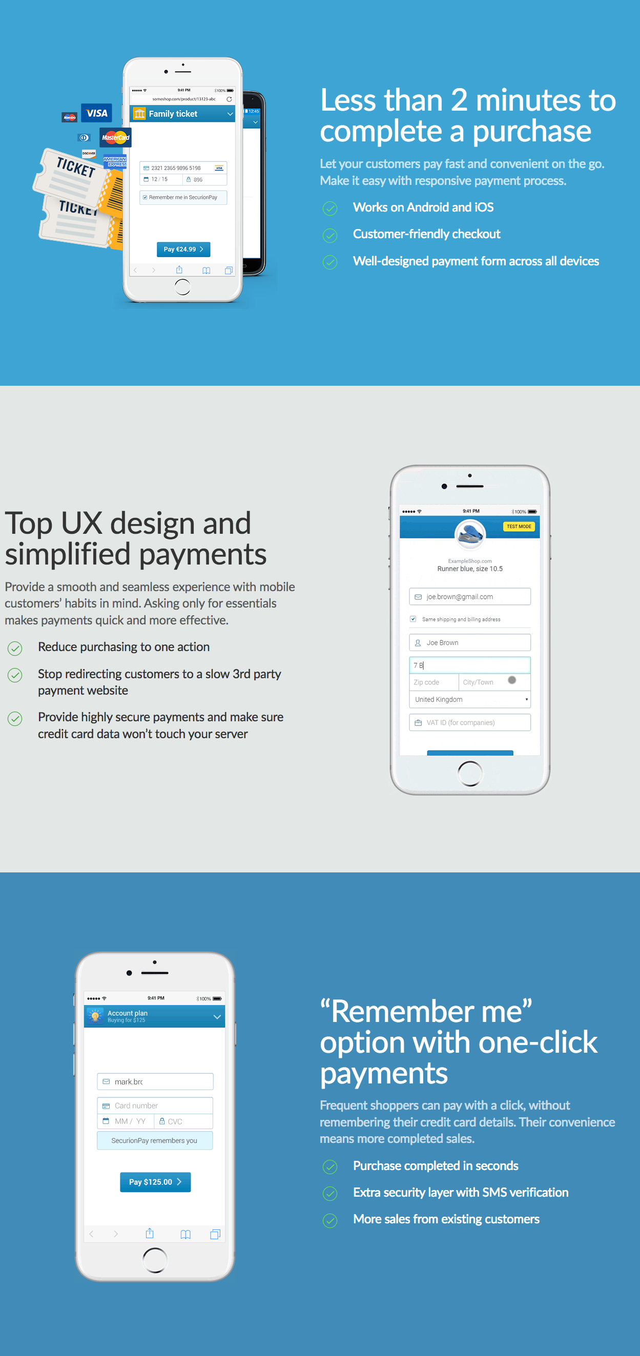 mobile payments SecurionPay website